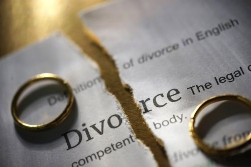 divorce papers and wedding bands